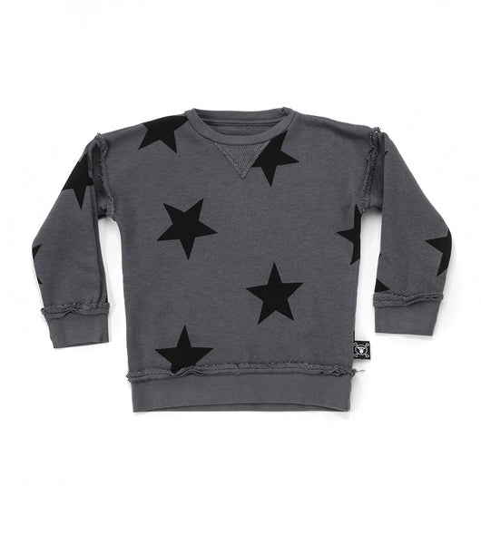 Boys & Girls Dark Grey Star Cotton Sweatshirt