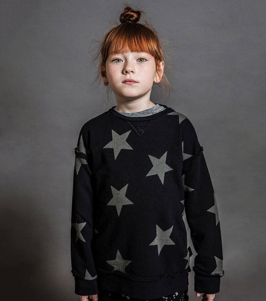 Boys & Girls Black Star Cotton Sweatshirt