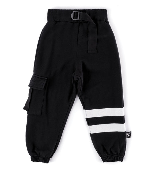 Boys Black Pocket Sweatpants