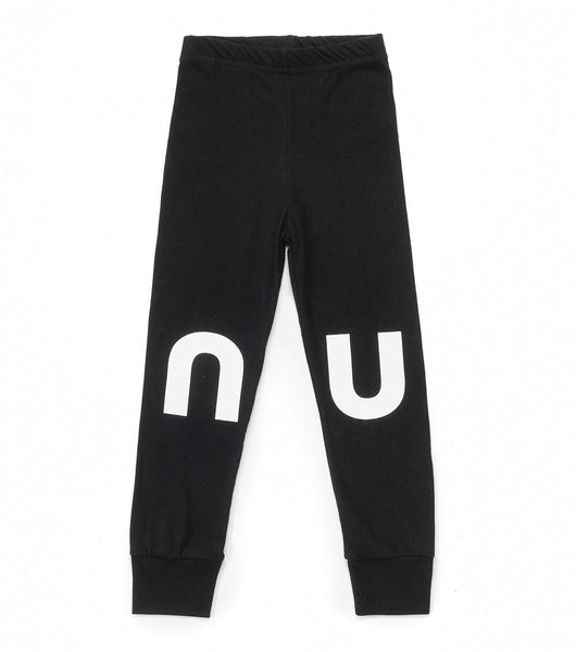 Girls Black Logo Cotton Leggings