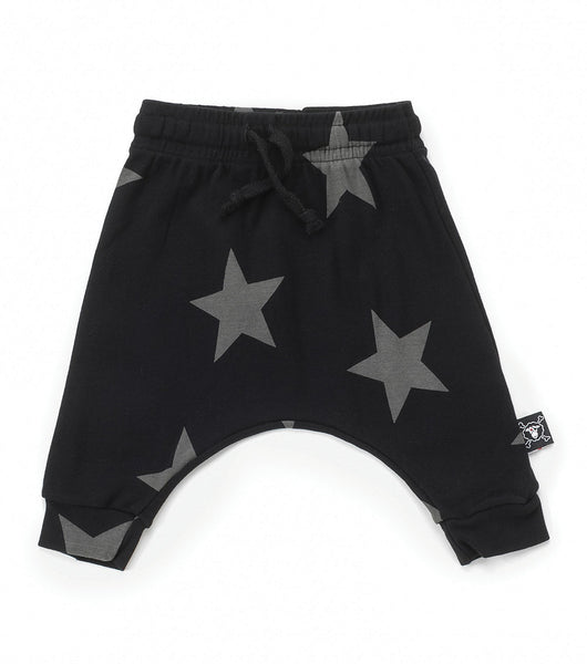 Baby Boys & Girls Black Star Baggy Cotton Trousers