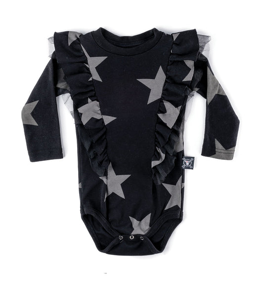 Baby Girls Black Star Ruffled Cotton Babysuit