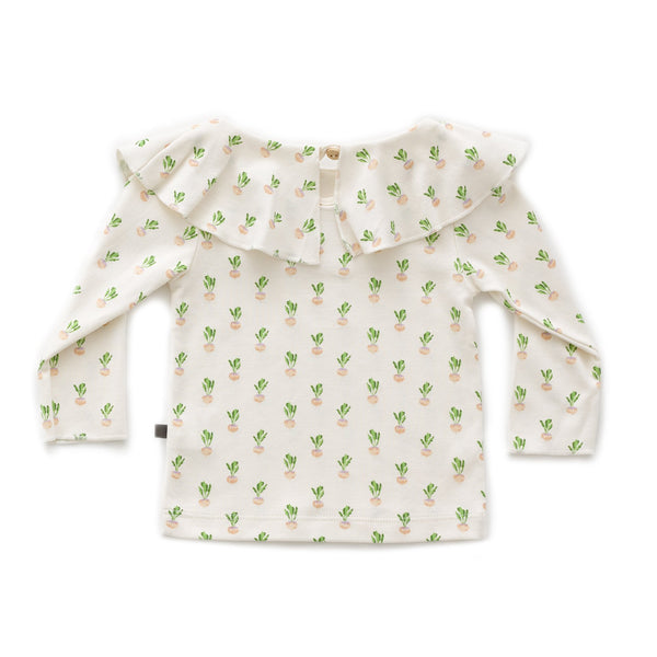 Girls White Gardenia Ruffle Collar T-Shirt