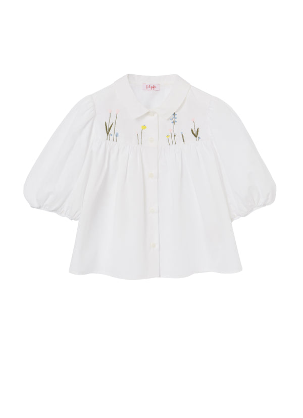 Girls White Embroidered Cotton Shirt