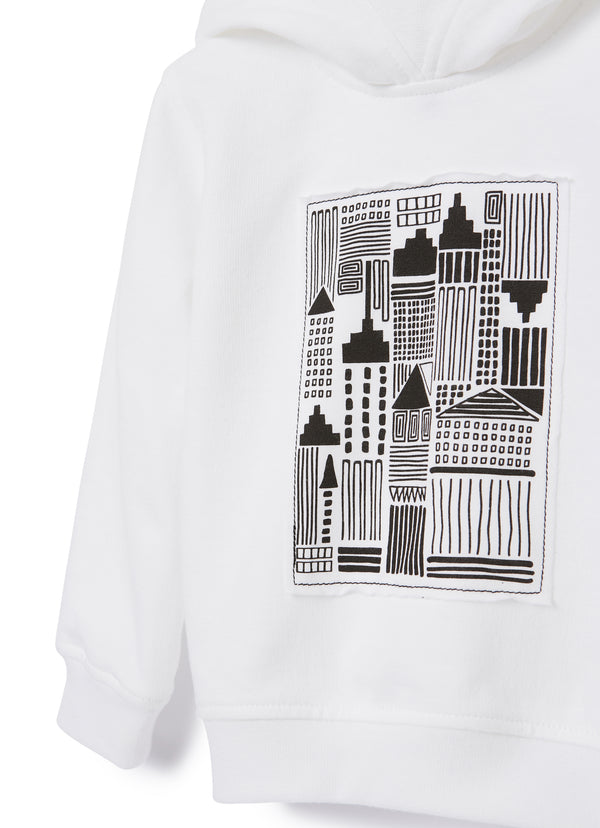 Boys & Girls White Hooded Cotton Sweatshirt