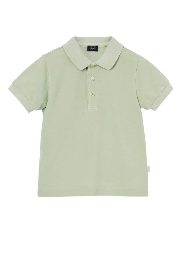 Boys Green Cotton Polo Shirt