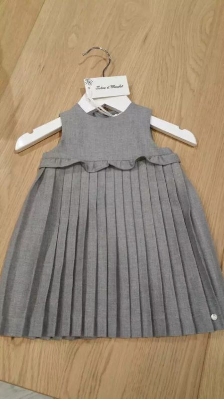 Baby Girls Grey Pleated Dress With Ruffles - CÉMAROSE | Children's Fashion Store