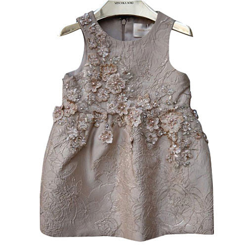 Girls Gold 'Magical beauty' Patch Embroidered Flower Trims Dress - CÉMAROSE | Children's Fashion Store - 1