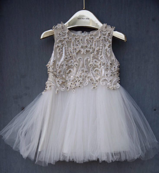 Girls White Pearl Embroidered Trims Tulle Dress - CÉMAROSE | Children's Fashion Store - 1