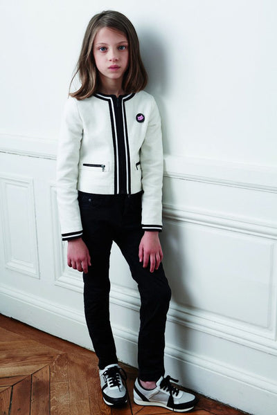 Girls White Cotton Zip-up Jacket - CÉMAROSE | Children's Fashion Store - 2