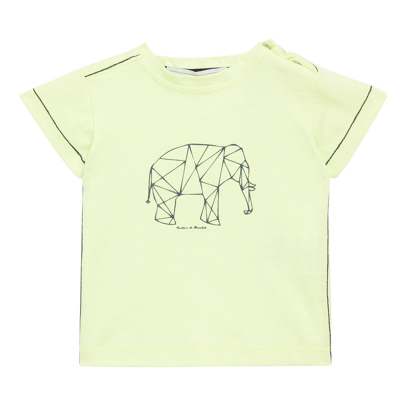 Baby Boys Fluorescent Yellow Cotton Elephant Printed T-Shirt - CÉMAROSE | Children's Fashion Store