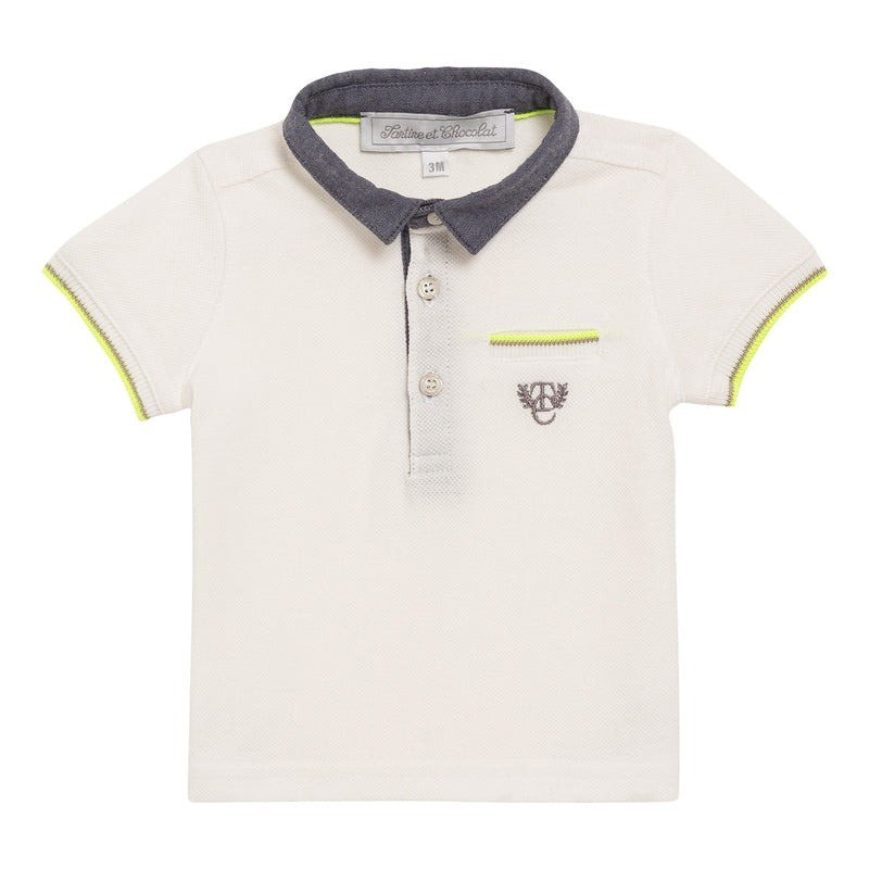 Baby Boys White Cotton Ribbed Cuffs Polo Shirt - CÉMAROSE | Children's Fashion Store