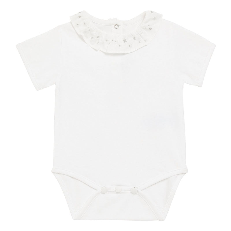 Baby Girls Ivory Cotton Grey Embroidered Collar Bodysuit - CÉMAROSE | Children's Fashion Store