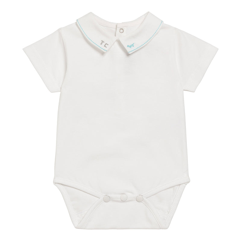 Baby Boys White Cotton Bodysuit With Polo Shirt Collar - CÉMAROSE | Children's Fashion Store
