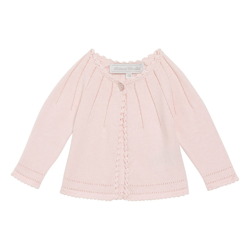 Baby Girls Light Pink Cotton Knitted Collarless Cardigan - CÉMAROSE | Children's Fashion Store