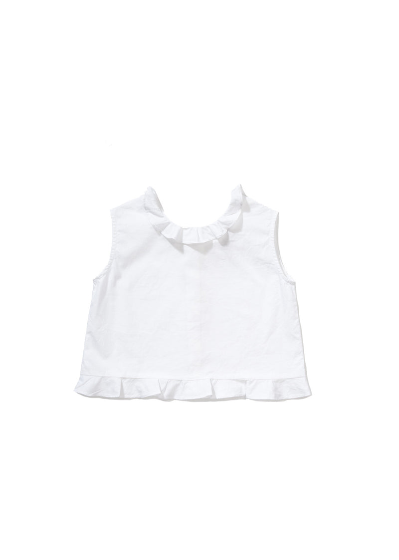 Girls White Cotton Woven Top