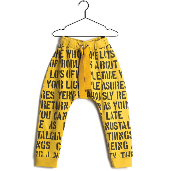 Girls Yellow Printed Cotton Trousers