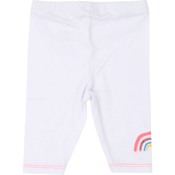 Girls White Cotton Leggings