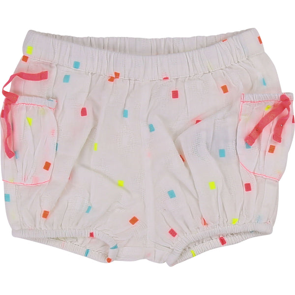 Baby Girls Rice White Pocket Cotton Shorts