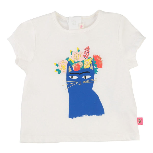 Baby Girls White Cotton T-Shirt With Blue Cat Print - CÉMAROSE | Children's Fashion Store