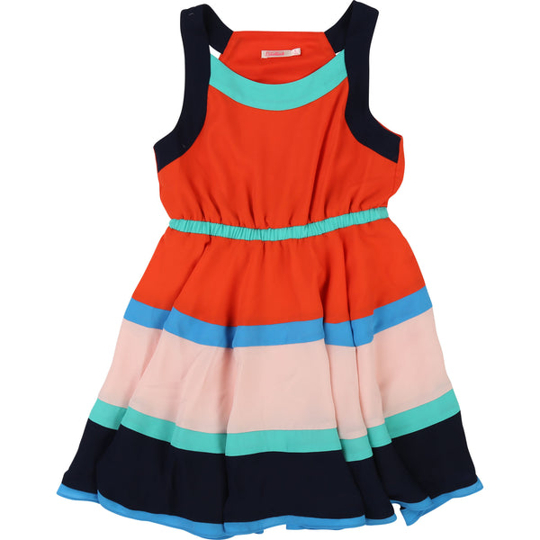 Girls Orange Collect Waist Dress