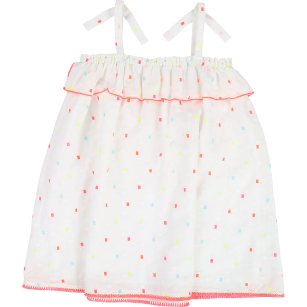 Girls White Cotton Straps Dress