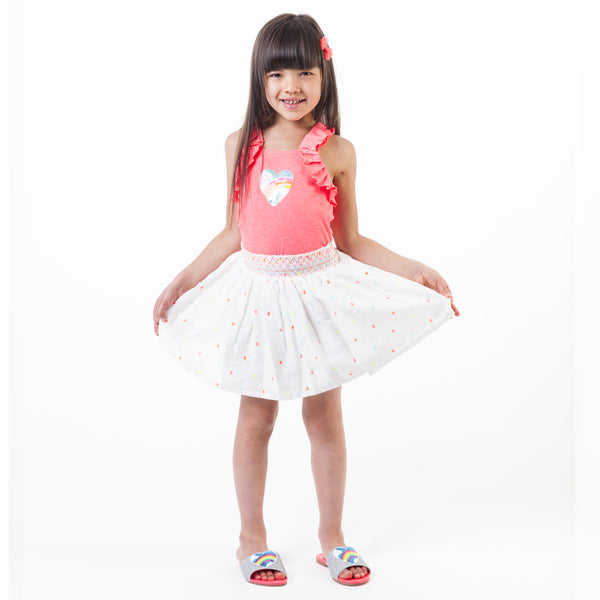 Girls White & Chromatic Ornament Skirt