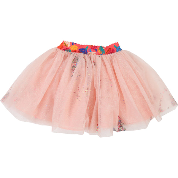 Girls Pink Embroidered Skirt