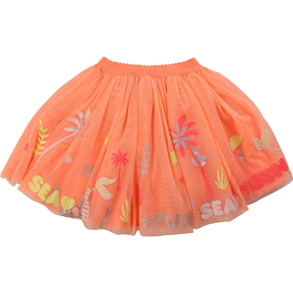 Girls Orange Printed Tulle Skirt