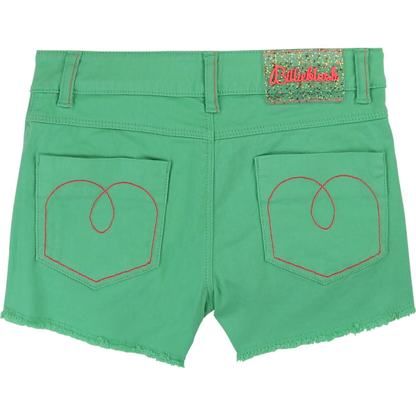 Girls Green Cotton Shorts