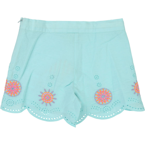 Girls Cyan Cotton Shorts