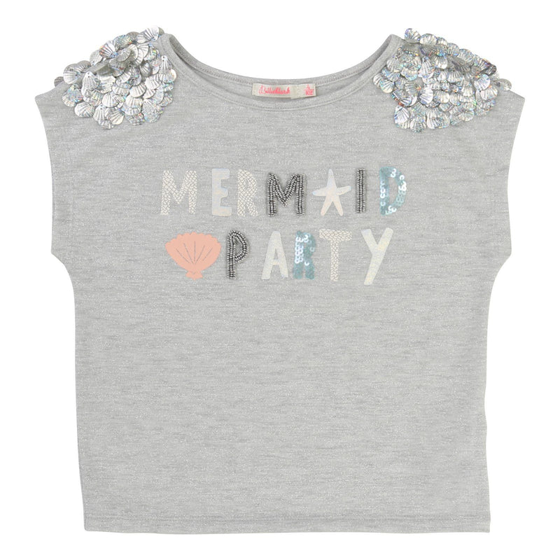 Girls Grey Cotton T-Shirt With Silver Sequin Trims - CÉMAROSE | Children's Fashion Store