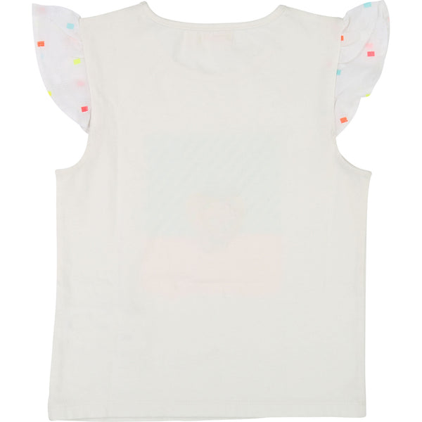 Girls White Printed T-shirt