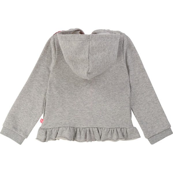 Girls Grey Hooded Frill Cotton Coat