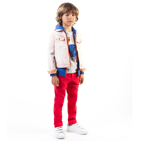 Boys Red Cotton Trousers