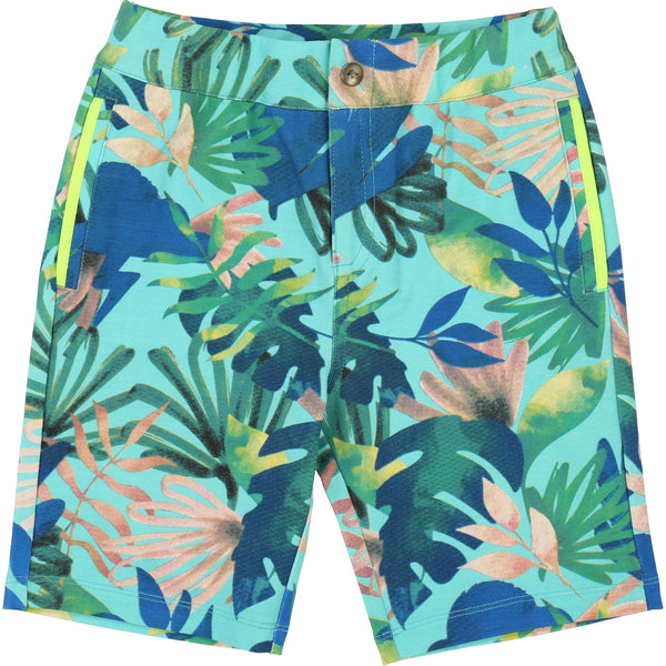 Boys Green & Blue Leaves Shorts