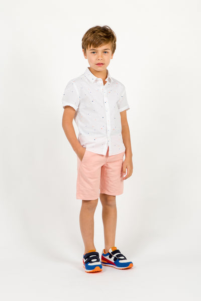 Boys White & Chromatic Cotton Shirt