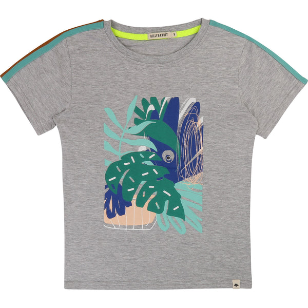 Boys Grey Printed Cotton T-shirt