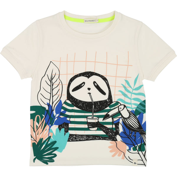 Boys Rice White Printed Cotton T-shirt