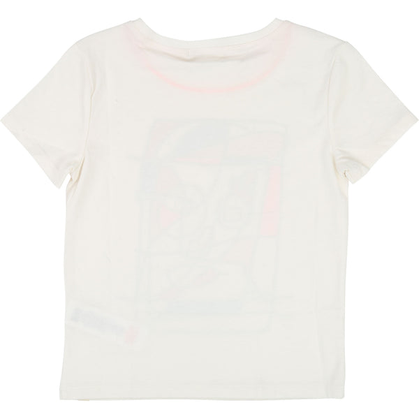 Boys Rice White Cotton T-shirt With Feutre