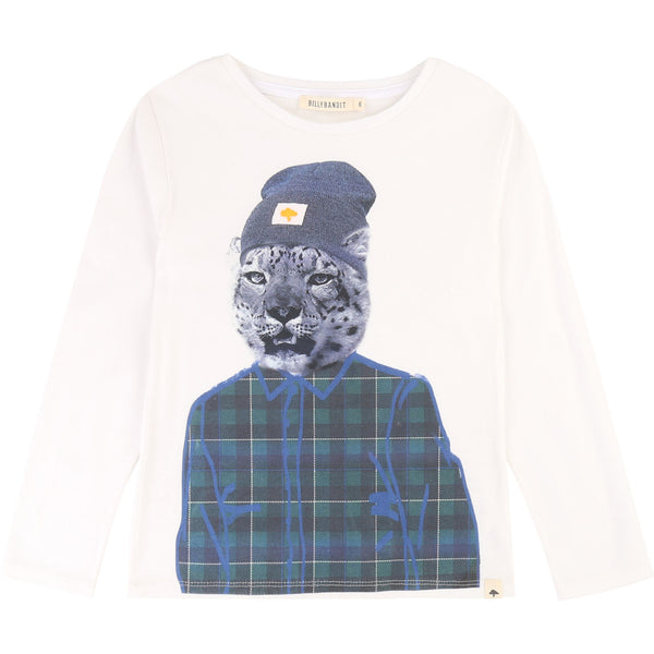 Boys White Printed Cotton Sweater
