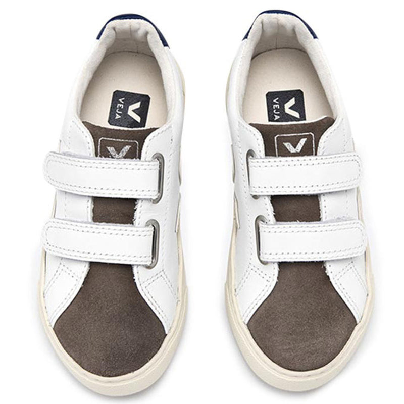 Boys & Girls White Velcro Leather Shoes With Brown Front