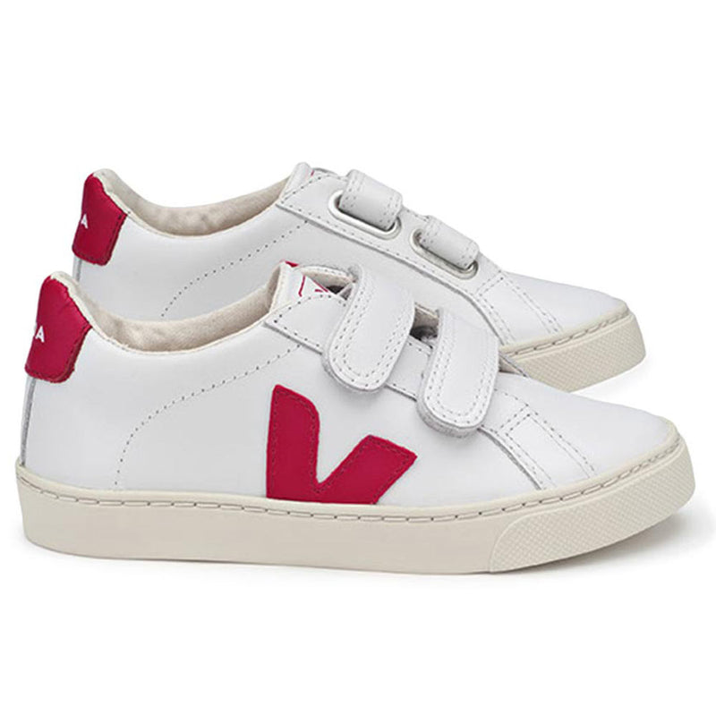 "Boys & Girls White Velcro Leather Shoes With Red ""V"""