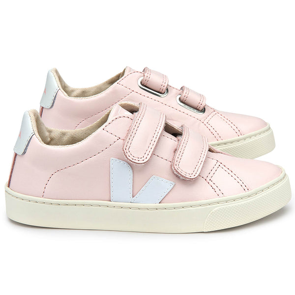 Baby  Girls  Pink   Leather Velcro   With  White