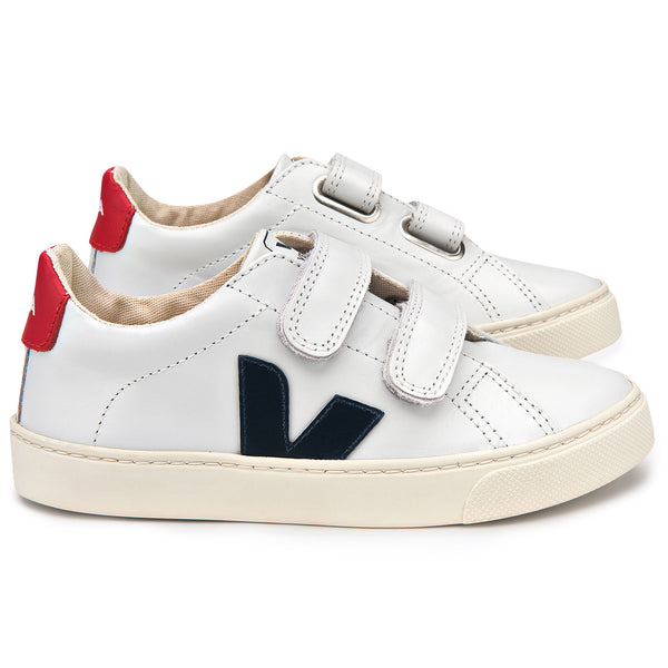 Baby   White  Leather  Velcro With  Navy  Blue