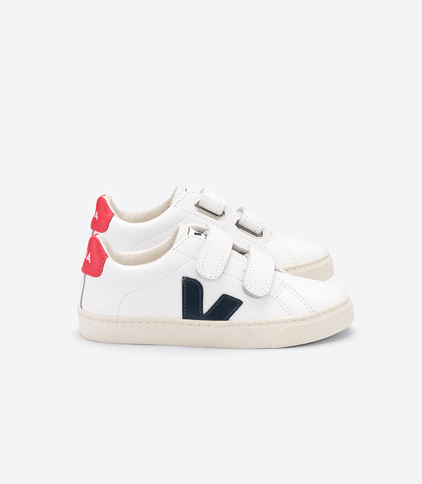 "Baby Boys White ""Esplar"" Velcro Leather Shoes"