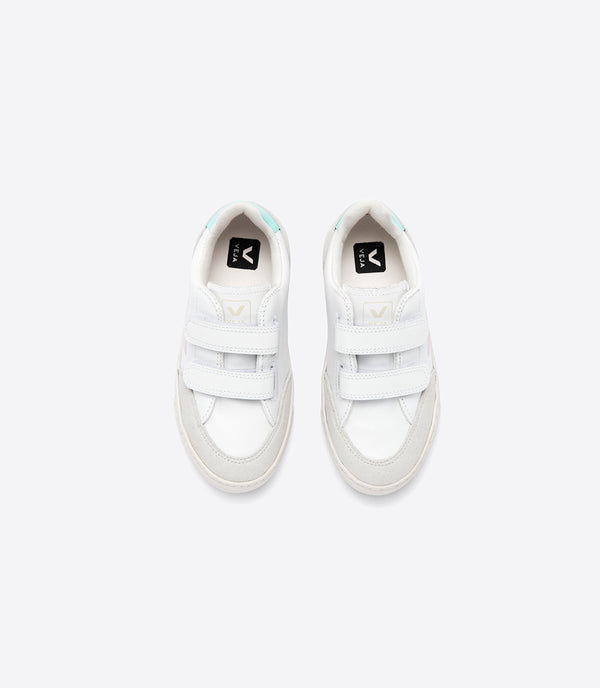 "Boys & Girls White ""V-12"" Velcro Leather Shoes"