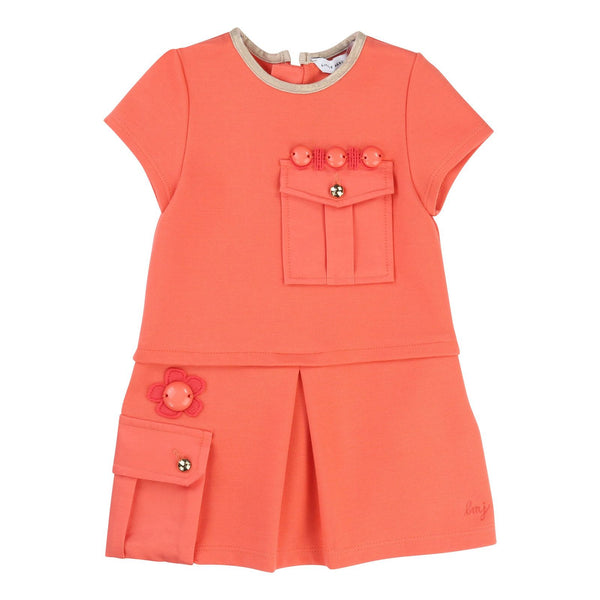 Baby Girls Deep Pink Fleece Dress With Patch Pocket - CÉMAROSE | Children's Fashion Store