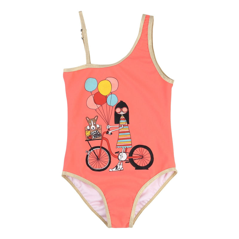 Girls Pink 'Mrs Marc' Printed Asymmetrical Straps Swimsuit - CÉMAROSE | Children's Fashion Store