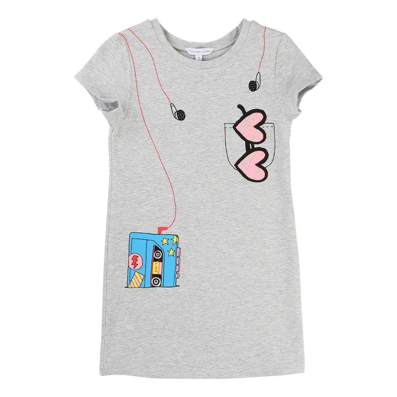 Girls Grey Fancy Illustration Printed Fleece Dress - CÉMAROSE | Children's Fashion Store